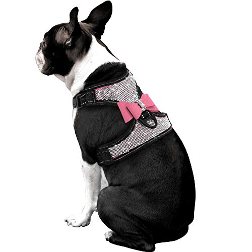 Beirui Rhinestone Dog Harness - No Pull Reflective Bling Nylon Dog Vest with Sparkly Bow Tie for Small Medium Large Dogs Walking Party Wedding,Pink,L