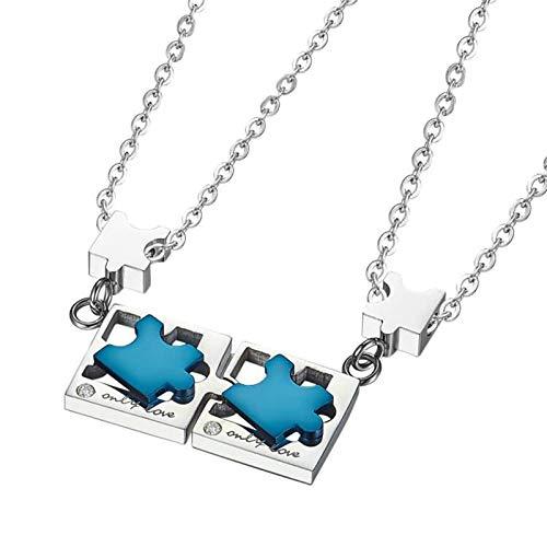 Aimrio 2 Stück Edelstahl Herren Damen Paar Halskette Schlüssel und Schlossrätsel Silber Blau Paarschmuck für Freund Freundin