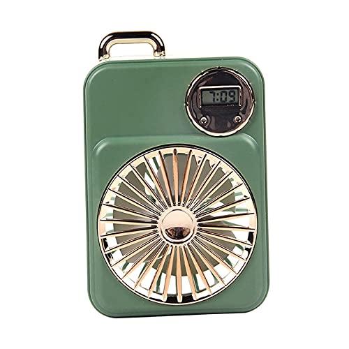 H HILABEE Ventilador de Refrigeración por Aire USB con Reloj para Acampar en Verano - Verde, Individual