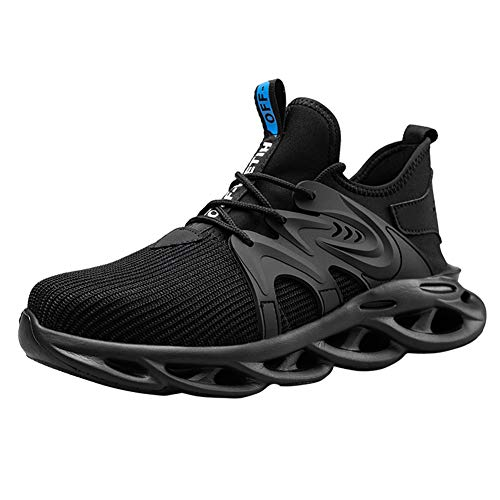 Zapatos de Seguridad Hombres Cómodo Zapatos de Trabajo Zapatillas con Punta de Acero Ultra Liviano(Hoja Negro, 43)