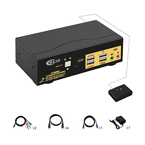 CKLau 2 Port Dual Monitor Displayport KVM Switch, DP KVM Switch with Audio, USB 2.0 Hub and Cables Support Hotkey Switching Resolution Up to 4096x2160@60Hz 4:4:4
