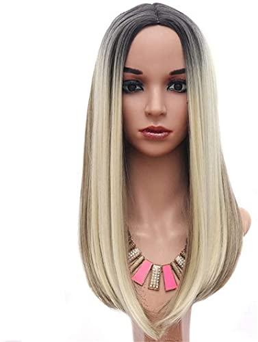 Hencik Peluca de cosplay europea y Cos simulación cuero cabelludo grande degradado dorado gris hombro pelo señoras niñas pelo largo recto para cosplay fiesta uso diario belleza