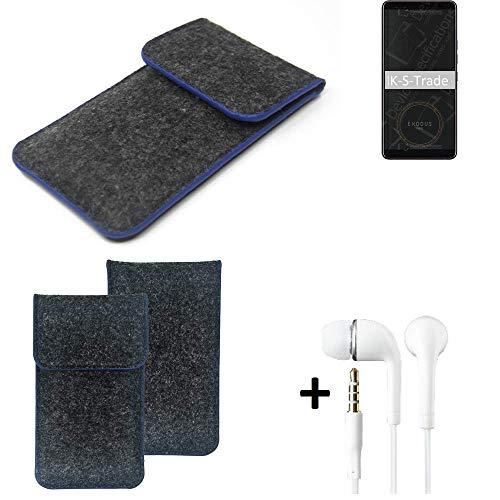 K-S-Trade Filz Schutz Hülle Für HTC Exodus 1 Schutzhülle Filztasche Pouch Tasche Handyhülle Filzhülle Dunkelgrau, Blauer Rand Rand + Kopfhörer