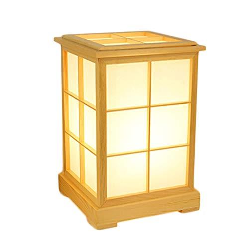 YC electronics Lámparas de Escritorio Lámpara de Mesa de Madera Natural Estilo japonés Estudio de Tatami Coreano lámpara de cabecera imitación pergamino Papel Pantalla de Pantalla Lámpara de Mesa