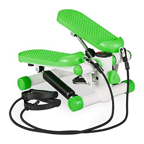 Relaxdays Unisex– Erwachsene Schrittzähler, 2 Expander, Verstellbarer Widerstand, Up & Down, Swing-Stepper für Zuhause, grün, 1 Stück