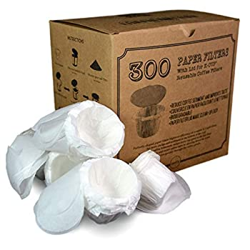 canFly Disposable K-CUP Paper filter with Lid for Keurig single cup coffer filters compatible with Ekobrew EZ-Cup and other Reusable K-CUP Filters  300 Count