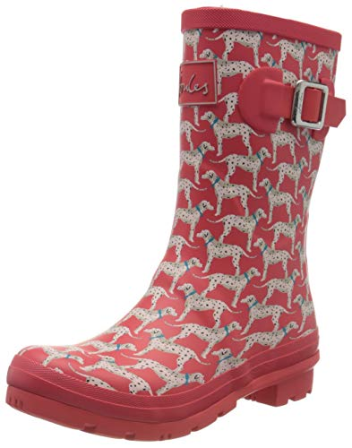 Joules Women's Work Wellington Boots, Red Red Dalmatian Red Dog, 9 Medium US