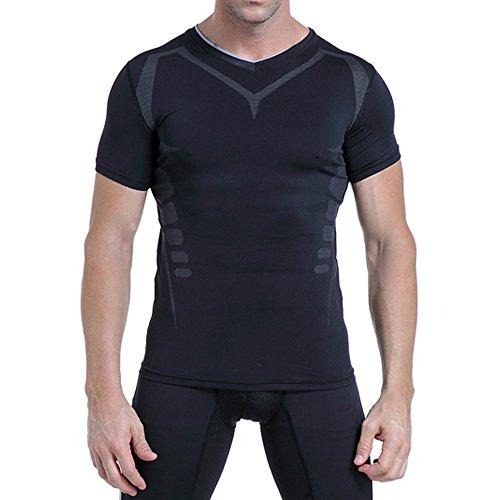 AMZSPORT Herren Kompressions-Shirt Kurzarm Funktionsshirts Baselayer Kurzarm,Schwarz,S - 4