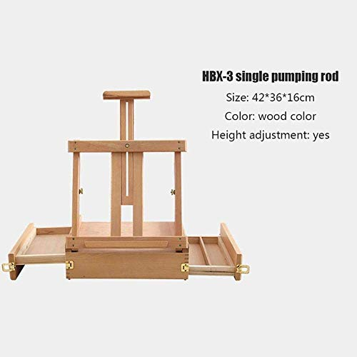 ZFFSC Easels for Art, Easels Picture Box Type Emaille Houten Easel, Lifting Tafellade Easel, Opvouwbare Tafelframe Easel, 3.5kg Art Tool Easel, Dubbelpolig Singlepole