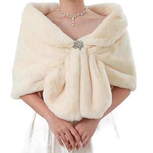 Yean - Chal de piel sintética para novia, para mujer, diseño de novia Marfil Blanco cremoso. Talla única
