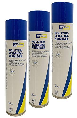 3x cartechnic Polster-Schaum-Reiniger 400ml, Polsterreiniger für Auto und Haushalt mit Aktivschaum, Reiniger für Polstermöbel