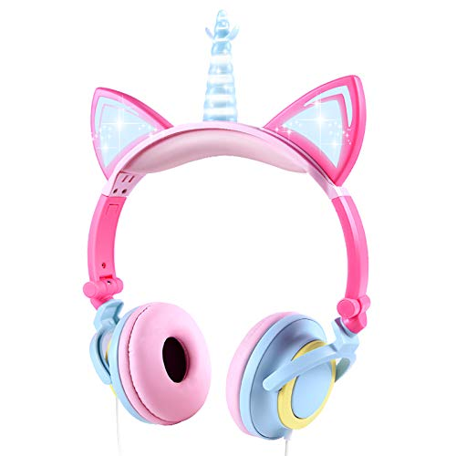 Kids Headphones Cute Unicorn Headphones for Kids, Over Ear Wired Kids Headsets with LED Glowing Cat Ears and 3.5mm Jack for Girls, School, Travel, Home (Multi)