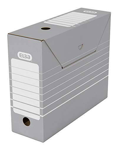 Elba 83422 - Caja de almacenamiento para archivadores (10 unidades), color gris y blanco