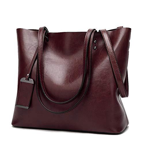 Coolives Damen Shopper Tasche aus PU-Leder mit Schulterriemen Schultertasche Umhängetasche Eimer Handtasche für Frauen Kaffee braun EINWEG