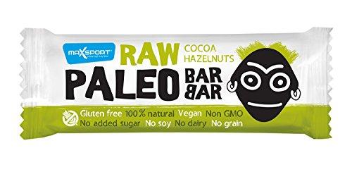 Max Sport RAW PALEO BARBAR, Kakao Haselnuss, 20 x 50g, (1er Pack 1 kg)