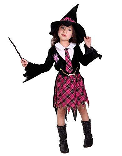 Zauberin Kostüm - Mädchen - Halloween - Karneval - Cosplay - Größe M - 4/5 Jahre - Geschenkidee für Weihnachten und Geburtstag