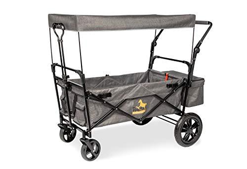 Pinolino 238071 Klappbollerwagen 'Piet Comfort' mit Bremse, grau meliert, Schwarz