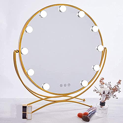 JIAJBG Espejo de Maquillaje Iluminado Espejo de Vanidad de Estilo de Hollywood con 3 Niveles de Brillo Ajustable Ajustable Tablero de Tablero Dimmable Control Táctil 11 Led Bombillas Exquis