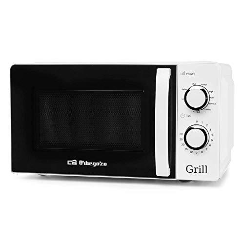Orbegozo MIG 2130 Microondas con grill con 20 litros de capacidad, 5 niveles de funcionamiento y 3 funciones combinadas, temporizador hasta 30 minutos, 700-900 W, 900 W, Blanco
