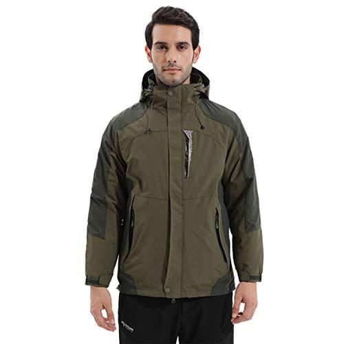 Vestes pour Hommes Coupe-Vent Imperméable Chaud 2 Ensembles Manteau Softshell avec Chapeau,Green,XL