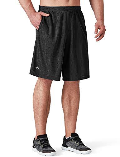 NAVISKIN Herren Mesh Laufshorts Ultraleicht Basketball Shorts atmungsaktiv Sportshorts schnelltrocknend Split Trainingsshorts Seitentaschen Schwarz Größe M