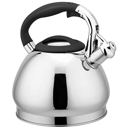 Stainless Steel Whistling Kettle for Cookers, Ergonomic Handle and Spout, All Heat Sources Suitable for Induction – 3L