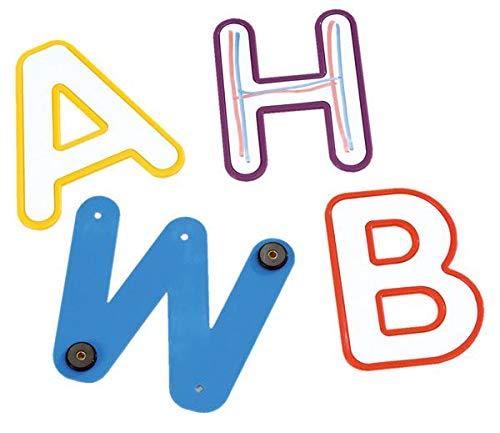 Magnetisches Buchstabenset, für die Tafel, 26 bunte Kunststoff Großbuchstaben, beschreibbar - Schule Kinder DAZ Deutsch Zweitsprache Alphabet Buchstaben Lehrmittel lesen lernen Unterrichtsmittel