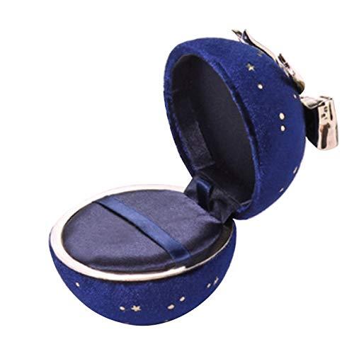Kalaokei Caja de embalaje de joyería con lazo de lazo para joyas, caja de exhibición de joyas de cielo estrellado redondo lazo anillo collar colgante caja de almacenamiento de joyería azul oscuro 02