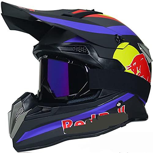 NNYY Integraler ATV-Helm, Motocross-Helm-Erwachsener Red Bull-Helm-Motorrad-Kreuz-Set-Kind mit Gläsern-Maskenhandschuhen, für BMX MTB-Quad-Enduro ATV-Roller,Schwarz,L