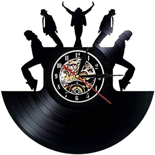 TIANZly Vinyl Record Home Orologio da Parete Orologio da Parete Design Moderno Tema Musicale Adesivi 3D Pop King Orologi da Polso in Vinile Orologio Home Decor Regalo per Uomo