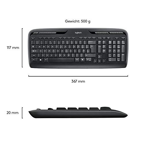 Logitech MK330 Kabelloses Tastatur-Maus-Set, 2.4 GHz Verbindung via USB-Empfänger, 4 programmierbare G-Tasten, 12 bis 24-Monate Batterielaufzeit, PC/Laptop, Deutsches QWERTZ-Layout - Schwarz