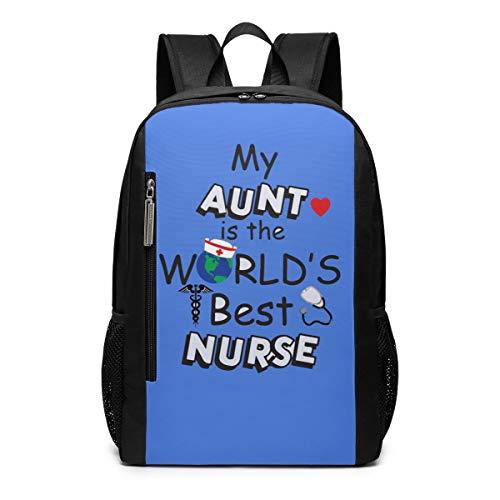 My Aunt Is A Nurse Shirts Best Nurse Theme Picture Pattern Printed Bookbag Book Back Middle School Bag Backpack Travel Hiking Mini Gym Gear Girls Boy Teen Women Kid Men Gift