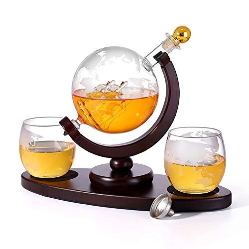 Decantador de whisky - Botella de vino de vidrio, dispensador de alcohol de garrafa de 900 ml con 2 vasos, regalo de vino, aireador de vino, accesorios para vino