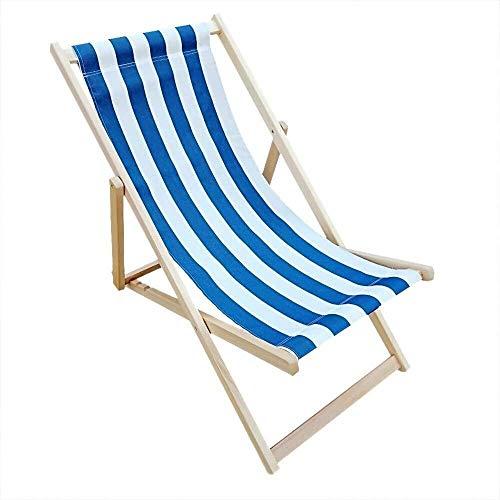 Silla Silla plegable, Tumbona Tumbona ajustable hamacas de playa, de madera al aire libre Jardín Patio (Color: Rojo + raya blanca), Color: Rojo + Blanco de la raya ( Color : Blue+white Stripe )