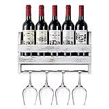 Giikin Rustic Wall Mounted Wine Rack Holds 5 Bottles and 4 Glasses, Wood Floating Wine Shelf Organizer with Wine Glasses Holder, Wine Storage Rack for Home Bar Wall Display Decor (Weathered White)