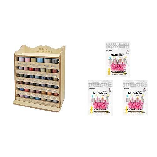 フジックス ミシン糸 デザインケースセット + ミスターボビン3袋セット (ピンク)