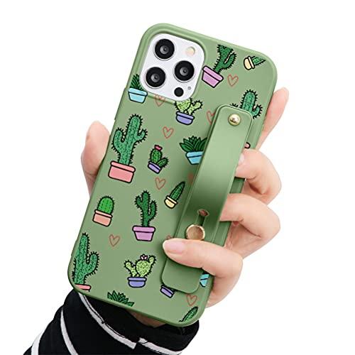 Eouine - Funda para Samsung Galaxy A7 2018, 6 pulgadas, silicona suave verde con patrón y correa para la muñeca, función atril,...
