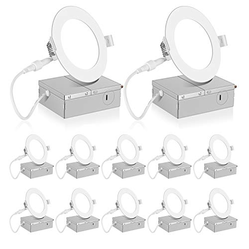 INCARLED 4Inch LED Recessed Slim Pot Light with Junction Box, Dimmable 9W 750LM (12pack, Neutral White/4000K)