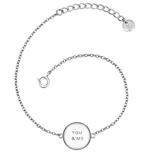 Glanzstücke München Damen-Armband mit Anhänger You & Me Sterling Silber 17 + 3 cm - Armkettchen Silberarmkette mit Spruch Freundschaftsarmbänder Arm-Schmuck