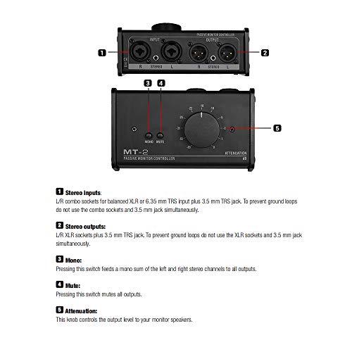 Fesjoy Monitor-Controller XLR Passiver Monitor-Controller mit XLR-3,5-mm-Eingängen und -Ausgängen