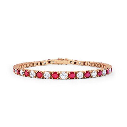 Jian London Bracciale Eternity in oro rosa 18k e vermeil con rubini e diamanti artificiali, 17,78 cm