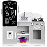Best Choice Products Wooden Pretend Play Kitchen Toy Set for Kids w/ Chalkboard, Marble Backdrop, Realistic Design, Sounds, 7 Accessories Included - Gray