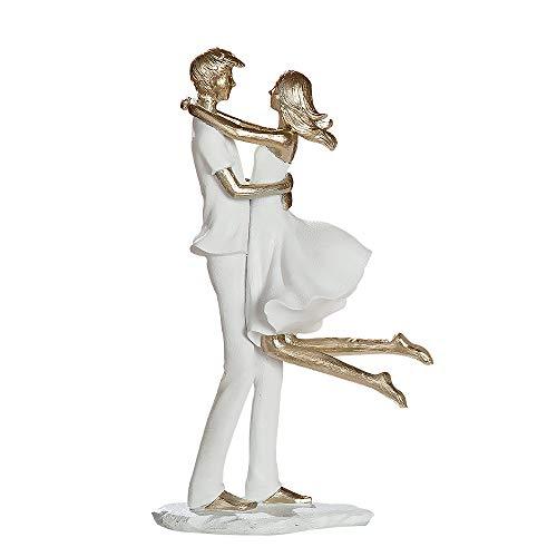 Gilde Sculpture en Poly Blanc/doré 32 cm