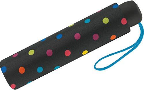 Paraguas Mini Mujer Manual United Colors of Benetton, Ocho Varillas, 95 cm de diámetro. (Negro con Topos Multicolores)