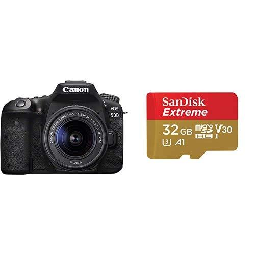 Canon EOS 90D - Cámara Réflex de 32.5 MP (Sensor APS-C + SanDisk Extreme - Tarjeta de Memoria 32GB microSDHC para móvil