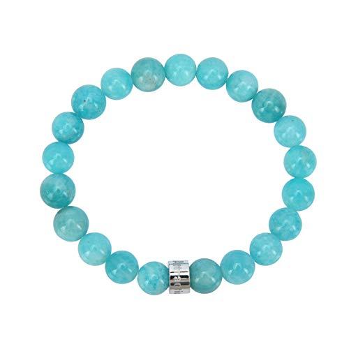 Attraction ZenTM – Emotion Management Bracelet – Natural Stones – Amazonite from Brazil – Stainless Steel Z Bead – Expandable Bracelet – Handmade – Stones 8 mm