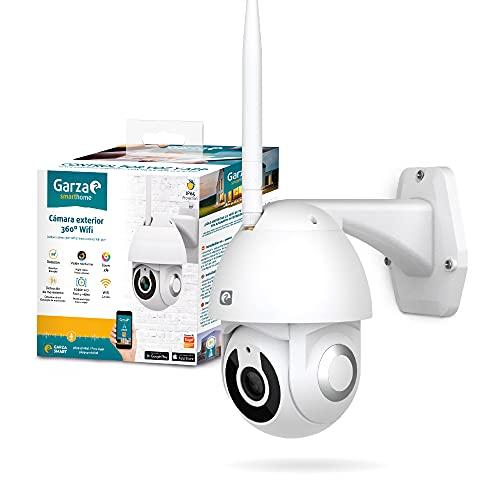 Garza ® Smarthome - Cámara de vigilancia exterior inteligente Wifi 360°, 1080P HD, IP65 impermeable a lluvia, Visión Nocturna, Detección De Movimiento, Audio Bidireccional, Control Remoto