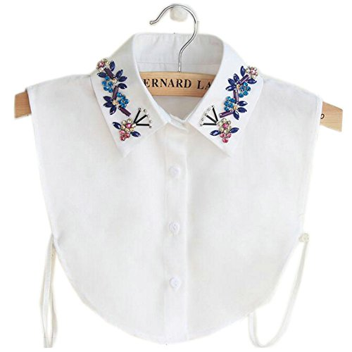 Joyci Korean Crystal Shirt Fake Collar Detachable Chiffon(White)