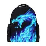 Naanle Abstract Blue Fire Flame Sparkle Dragon Head en Negro Mochila Bolso Escolar Viaje Senderismo Camping Mochila para niños Adolescentes Niñas Niños