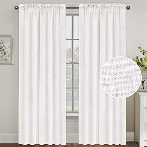 FantasDecor Natural Linen Curtains 84 Inches Long Rod Pocket Semi Sheer Curtain Drapes Elegant Casual Linen Textured Window Draperies, Light Filtering Privacy Added Home Fashion 2 Panels, White